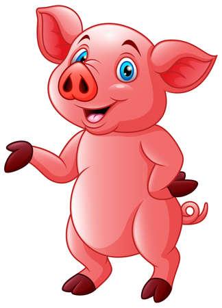 Cartoon very cute piggy illustration vector Çizim
