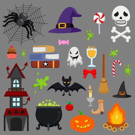 Cartoon Halloween icon set vector