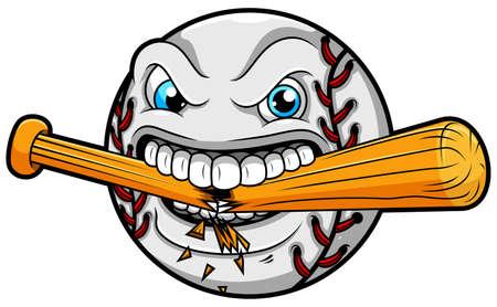 Il baseball arrabbiato rompe una mazza da baseball Vettoriali