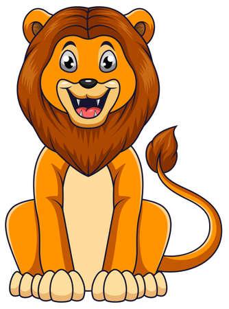 Cute lion cartoon sitting on white background Ilustrace