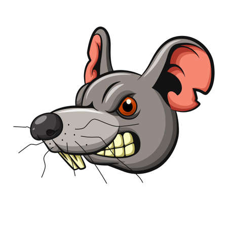 Angry mouse head mascot design Ilustrace