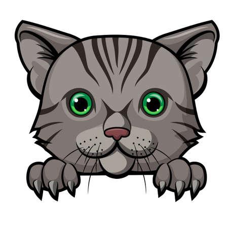 Diseño de mascota de dibujos animados de cabeza de gato lindo