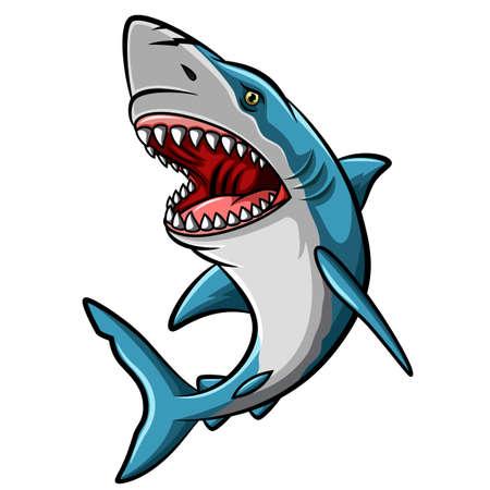 Mascotte de requin en colère de dessin animé sur fond blanc Vecteurs