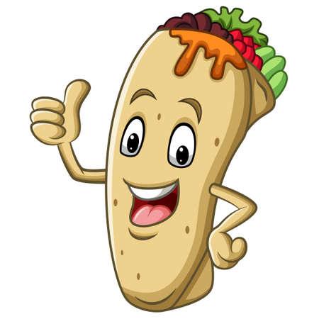 Cartoon burrito mascot giving thumb up Vector Illustration