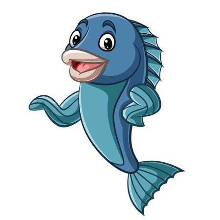 Cartoon fish mascot waving hand Çizim