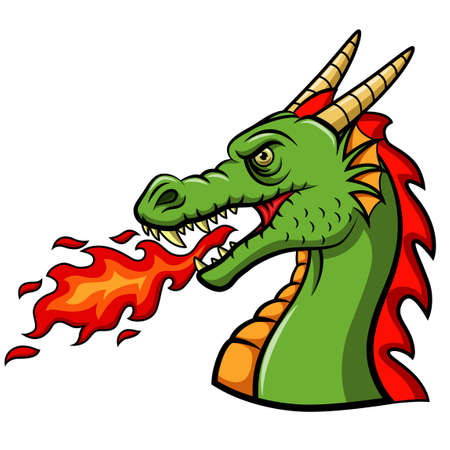 Cartoon head dragon blowing fire Ilustração