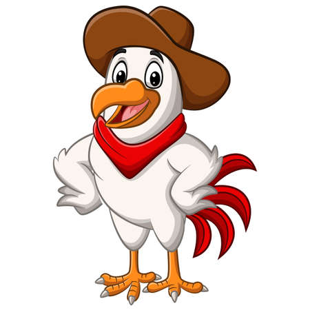 Cartoon happy cowboy chicken posing