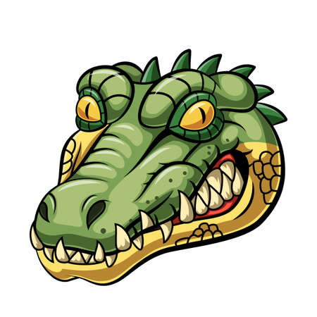 Diseño de mascota de cabeza de cocodrilo enojado Ilustración de vector