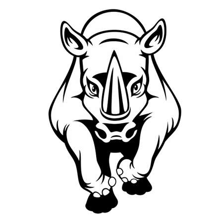 Black and white cartoon of a rhino isolated on a white background