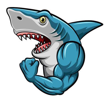 Cartoon strong shark mascot design