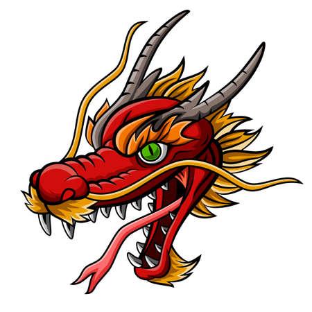 Cartoon wildes rotes Drachenkopfmaskottchen