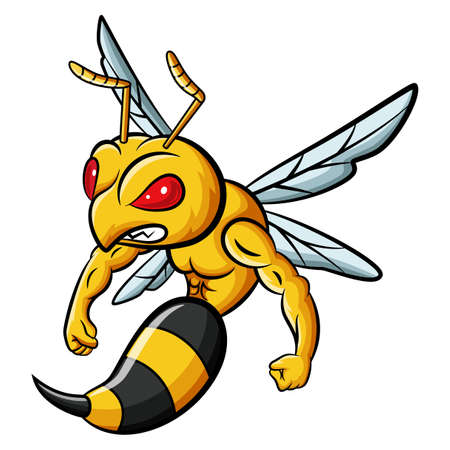 Cartoon strong bee mascot character