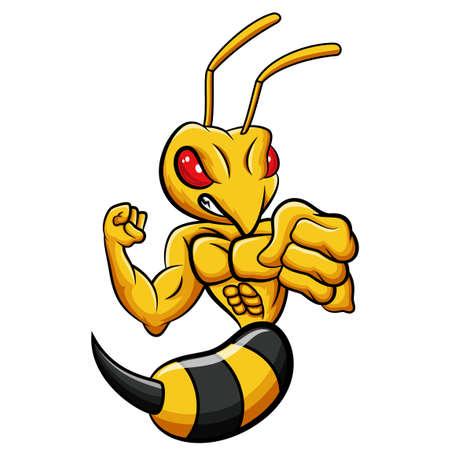 Cartoon strong bee mascot character Vector Illustration