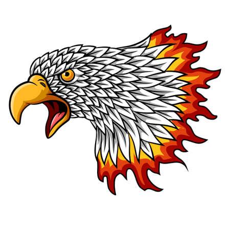Mascotte de tête d'aigle de dessin animé avec des flammes Vecteurs