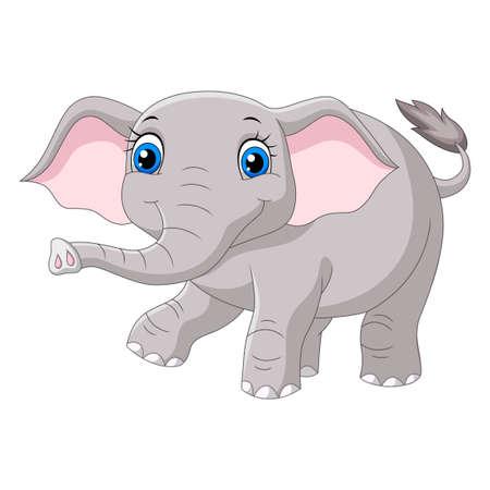 Cartoon baby elephant on white