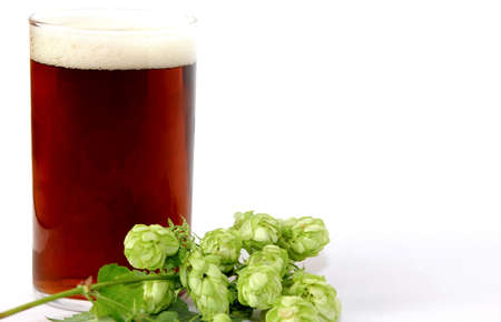 a glass beer with hops