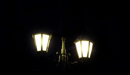 Historic street lamp by night in Germany, Cochem at Moselle Stock Photo