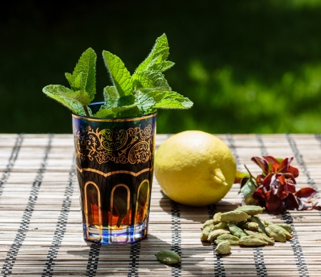 Arabic traditional refreshing mint tea photo