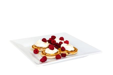 mascarpone: Pancakes with mascarpone and fresh raspberries