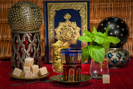 Traditional Arabian mint tea photo