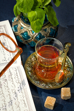 Traditional Arabian mint tea is very refreshing and tasty photo