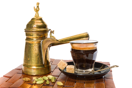 coffee pot: Traditional Turkish coffee served with coriander seeds Stock Photo