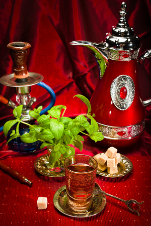 Refreshing mint tea in traditional Arab countries photo