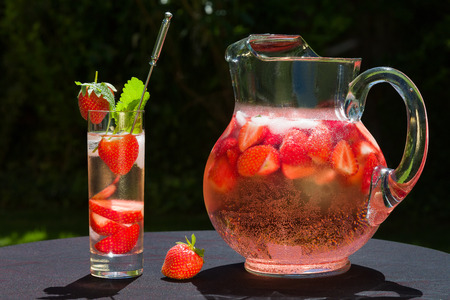 Strawberry drink with sect is wonderful summer refreshment.