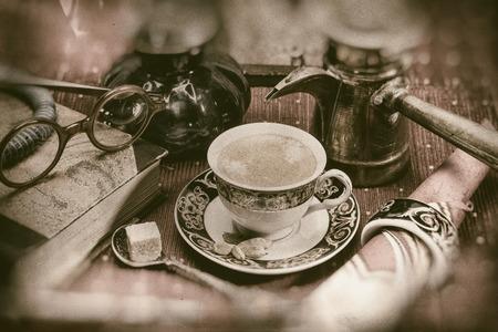 cardamon: Arabian coffee with cardamon seeds - retro look (old plate camera) Stock Photo