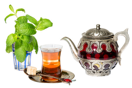 Mint tea is a traditional Arabic refreshing drink