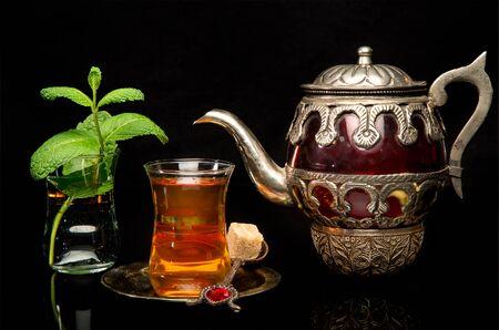 Mint tea is a traditional Arabian refreshing drink