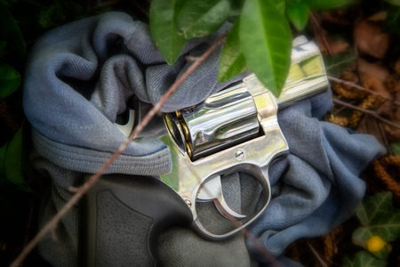 criminologist: Revolver MAGNUM 357 as evidence of crime Stock Photo