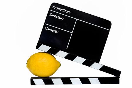 flap: Lemon Story - Lemon and film flap on stage Stock Photo