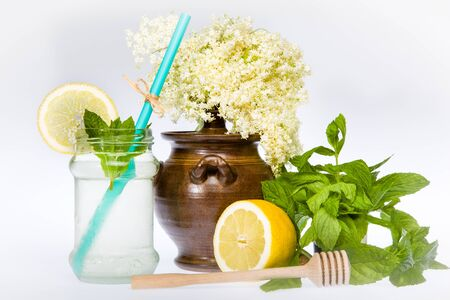 Elder Flower Lemonade with mint, honey and lemon photo