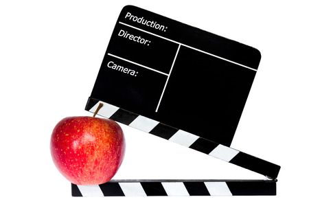 flap: Red apple and film flap - white background Stock Photo
