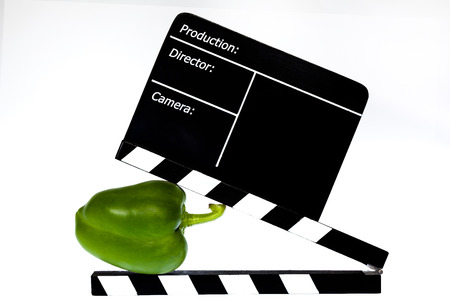 flap: Green pepper and film flap - white background