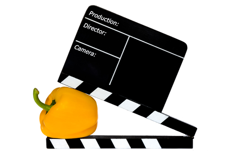 flap: Yellow pepper and film flap - white background Stock Photo