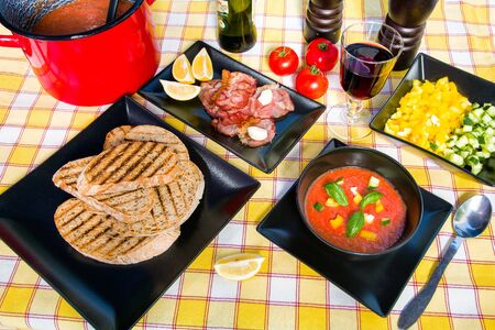 cold soup: Typical Spanish cold soup Gazpacho of tomato and other vegetables