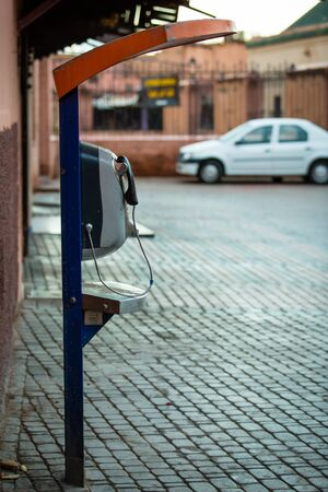phonebooth: Payphone on the street in Marrakechs Medina (Morocco)