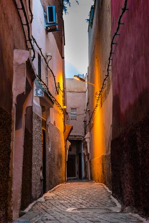 medina: Dawn in the alley of Marrakechs Medina