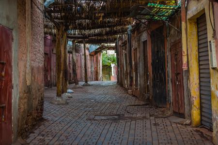 medina: Empty souk early in the morning in the Marrakech Medina