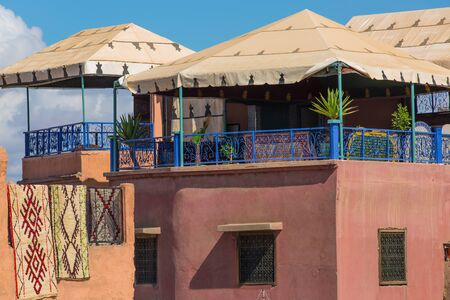 typical: Typical rooftop terrace in the Marrakech Medina
