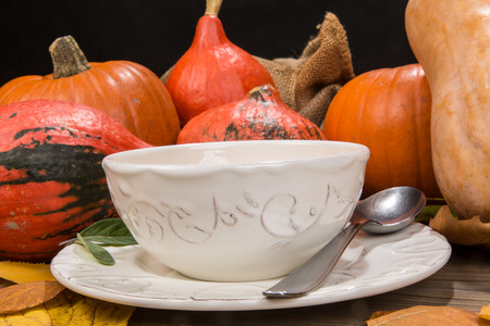 Creamy pumpkin soup is typical for autumn season Stock Photo