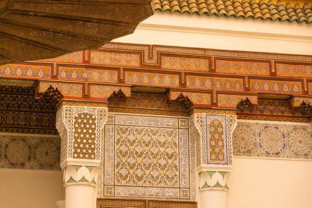 arabic architecture: Ornamental elements of Arabic architecture in Marrakech, Morocco Stock Photo