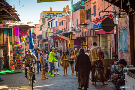 A typical atmosphere in the streets of the old Marrakech medina Editorial