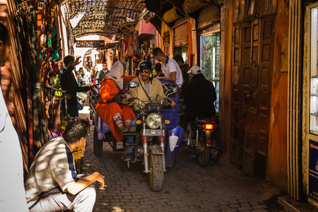 aisles: A typical atmosphere at the aisles Souk in Marrakech Medina