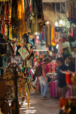 A typical atmosphere at the aisles Souk in Marrakech Medina