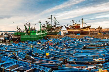 Brightly colored scenery port of Essaouira, Morocco