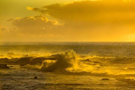 ourdoor: Golden Hour at sunset over the Atlantic Ocean in Essaouira, Morocco. Stock Photo