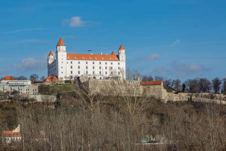 right bank: The view to the castle from the right bank of the Danube River. Bratislava, Slovakia.